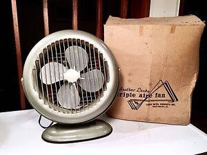 Antique Lasko Model 52 Round Tabletop Box Fan
