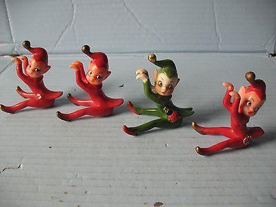 4 Vintage Elf Pixie Figurines 3 Red & 1 Green Josef Originals