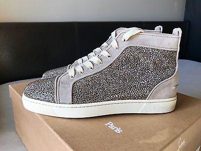 Mens Christian Louboutin Suede Gray Swarovski Strass Sneakers Size 41.5 ($3295)