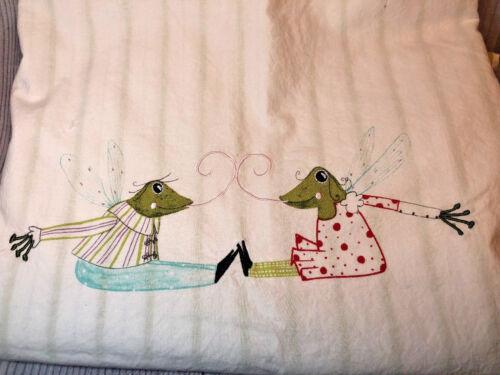 IKEA Fabler Groda Crib Duvet Cover 45x42 Fairy Frogs Green Stripe Red Trim GUC