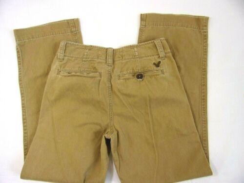 Boys 12 Men Size 26  x 28 American Eagle Tan Brown Pants Pocket Logo Distress