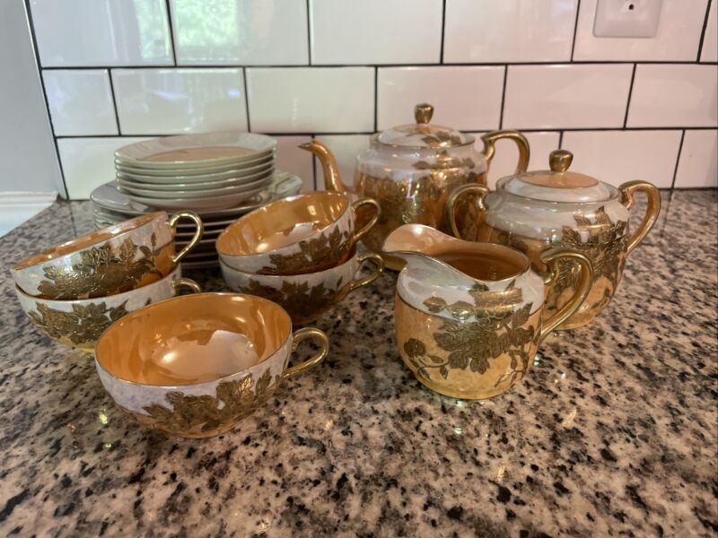 Hand Painted Japan Tea Set. Mother of pearl, Gold, And Peach.