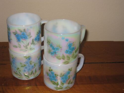 Four (4) Vintage Federal Iridescent Rainbow Mugs with Hand Painted Blue Flowers
