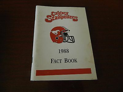 1988 Calgary Stampeders Fact book Guide CFL nice*clean