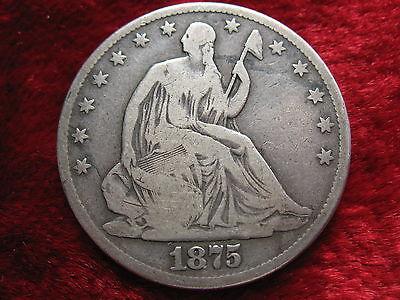 1875-P SEATED LIBERTY SILVER HALF DOLLAR-BETTER GRADE ORIGINAL BEAUTY!