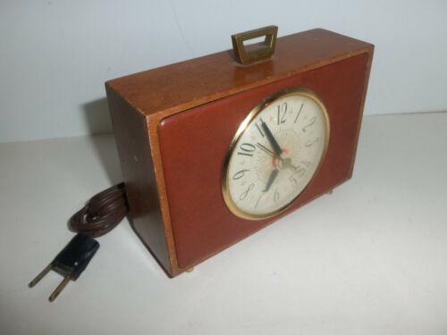 Vintage 7x5 Retro Sessions Wood Electric Decorative Mantle Alarm Clock WORKS