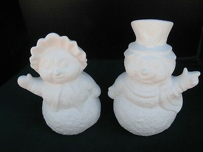 "04 Ceramic Bisque Mr and Mrs Snowman  12"" tall  YouPaint"