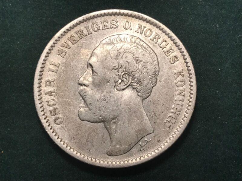 SWEDEN, OSCAR II, 2 KRONOR, 1877 SILVER COIN