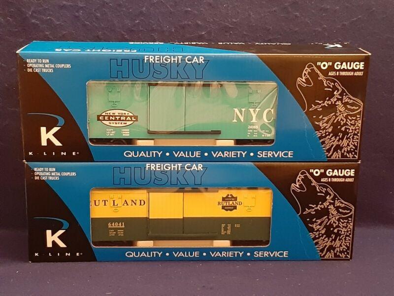 2x K-LINE HUSKY K646-1751 NYC BOX CAR & K646-4161 RUTLAND BOX CAR O GAUGE NIB!