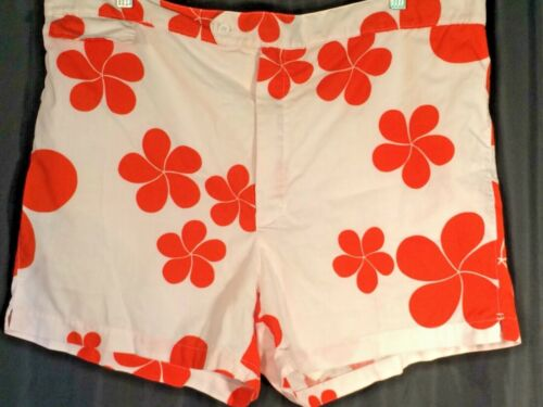 mens Vintage swim suit Trunks jams Briefs cotton Orange shorts 60s Hawaiian 40