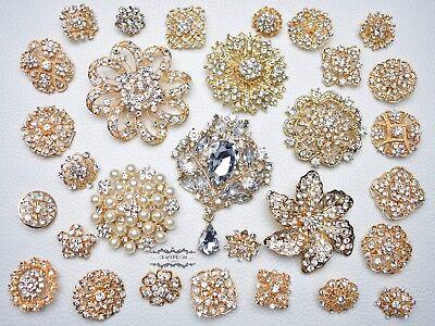 30 Gold Brooch Lot Rhinestone Crystal Pearl Pin Mixed Wedding Bouquet Bridal DIY