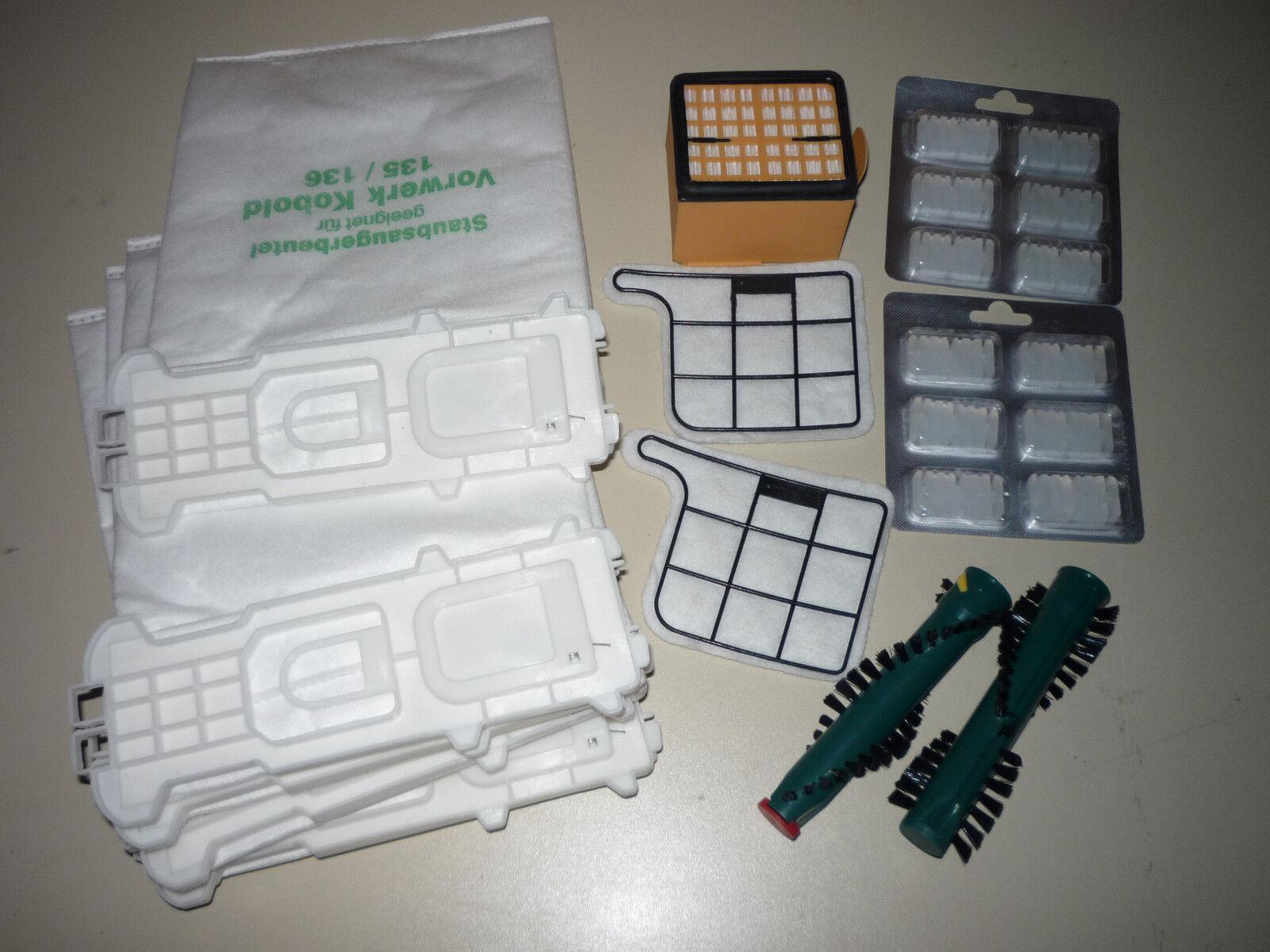 12 Staubsaugerbeutel 3 Filter Duft Bürsten geeignet für Vorwerk Kobold VK135/136