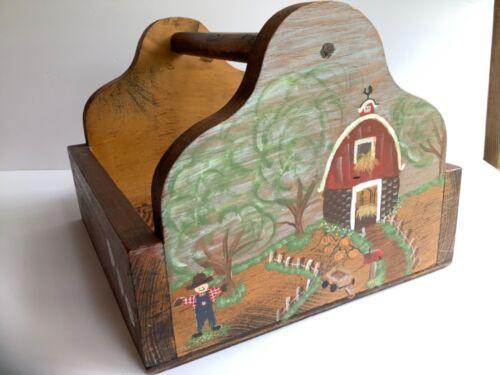 Vintage Wooden Caddy Basket Organizer Hand Painted Barn Farmhouse Primitive
