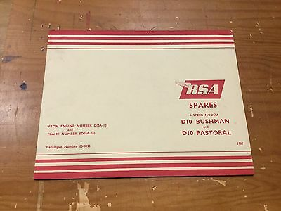 BSA D10 BUSHMAN / D10 PASTORAL PARTS CATALOGUE 1967 - 00-5135 [3-63]