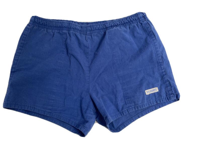 Vintage STUBBIES Blue Elastic Waist Drawstrings Men's Shorts Size 34 Made In Aus