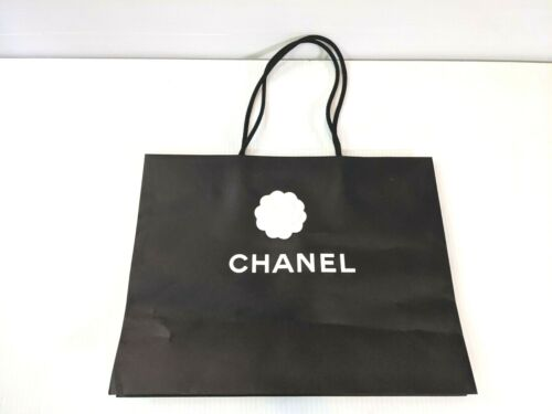 """Authentic Chanel Black Paper Shopping Gift Bag 17"""" x 13"""" x 6.25"""" w flower"""