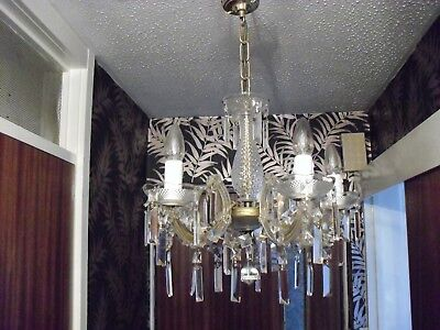 option of ONE of 4 chandeliers 5 arm  with glass droplets (4 available )