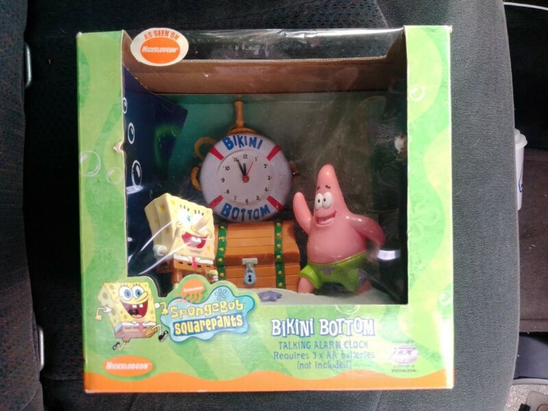 Vintage Nickelodeon SpongeBob SquarePants Bikini Bottom Talking Alarm Clock 2002