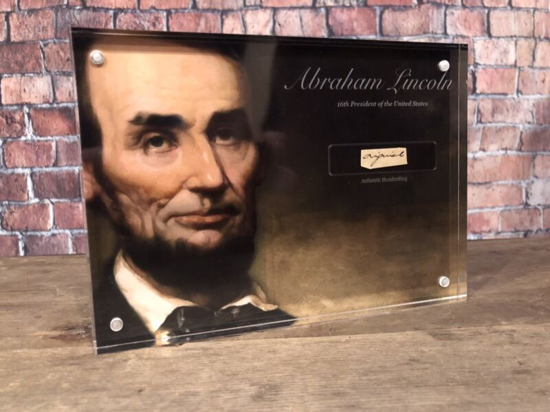 ABRAHAM LINCOLN SIGNED HANDWRITTEN WORD AUTHENTIC HISTORIC DISPLAY