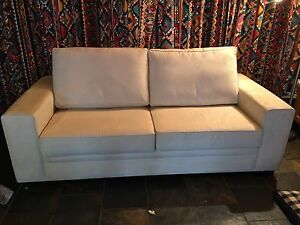 Cream coloured suede sofa bed couch Burra Queanbeyan Area Preview
