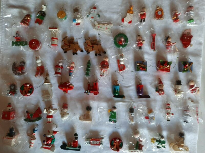 HUGE Lot 56 UNUSED Vintage~ MINI Wood CHRISTMAS Ornament ~ Santa ~Angel~ Snowman