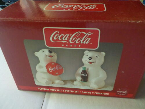Coca-Cola Playtime Cubs Salt & Pepper Shakers Set New in Box Gibson