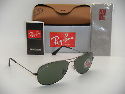 New Authentic Ray-Ban Cockpit RB3362 004/58 59mm Gunmetal Frame Green Polarized (Cockpit Rb3362)