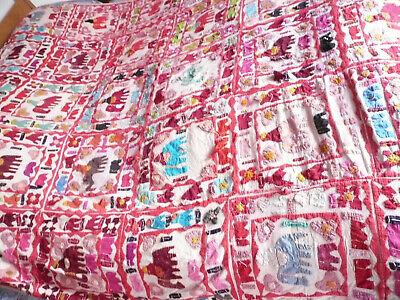 Vintage Hand Stitched Throw Quilt Blanket
