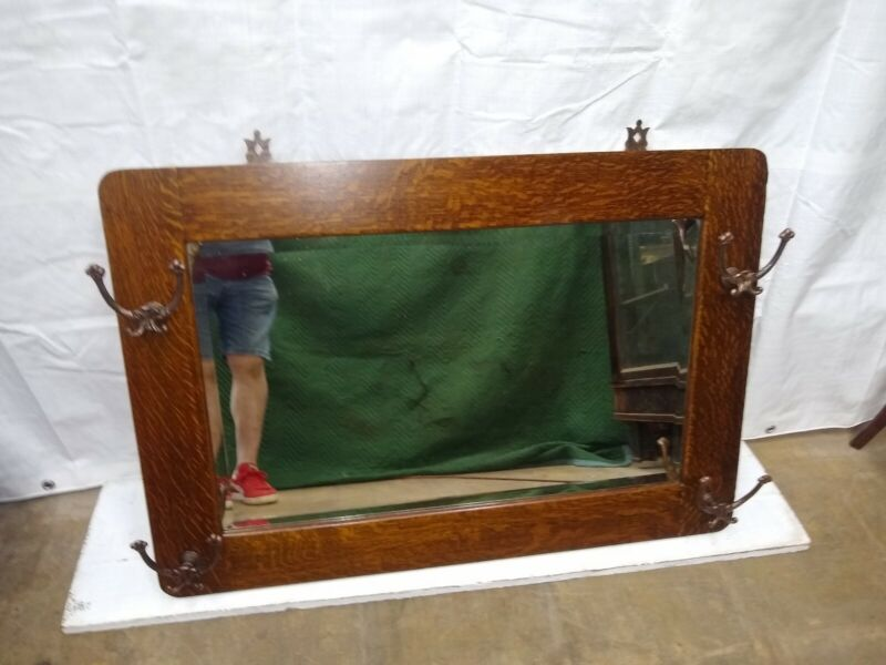 Antique Oak Hanging Beveled Glass Hall Mirror With Hat Hooks Original Finish
