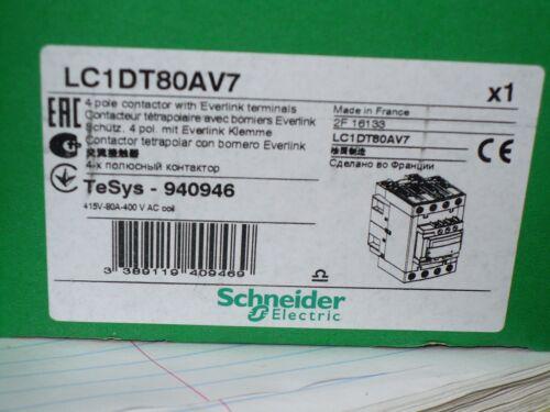 Schneider Electric LC1DT80AV7 Contactor, 4 Pole, 80 Amp, 400V Coil, New