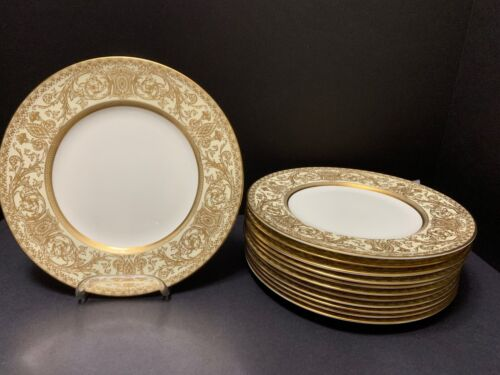 "12 Royal Worcester EMBASSY LUNCHEON PLATES 9 1/8"" Gold Filigree Rim White Plates"