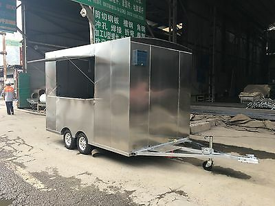 New 3mx1.8m Stainless Steel Concession Stand Trailer Mobile Kitchen Ship By Sea