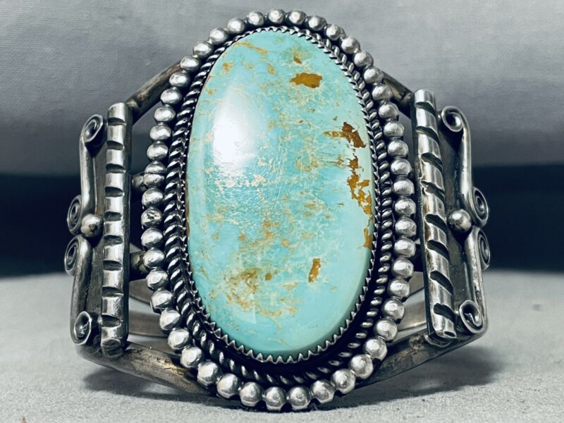 COLOSSAL VINTAGE NAVAJO ROYSTON TURQUOISE STERLING SILVER BRACELET