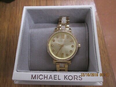 Michael Kors MK3881 Sofie Pave Crystal Gold Dial Analog Womens Watch