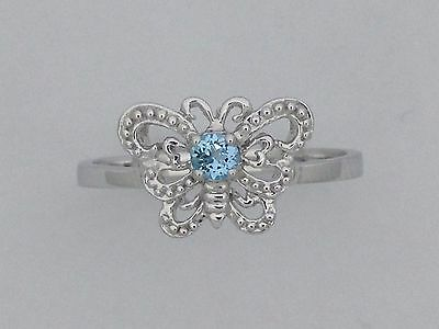 Blue Topaz Butterfly Ring - Silver Butterfly Ring with Natural Blue Topaz
