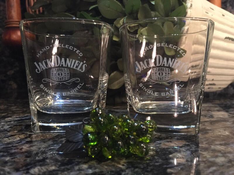 Vintage Jack Daniel's  SINGLE BARREL Square Base Rocks Glasses (2)  PRISTINE!