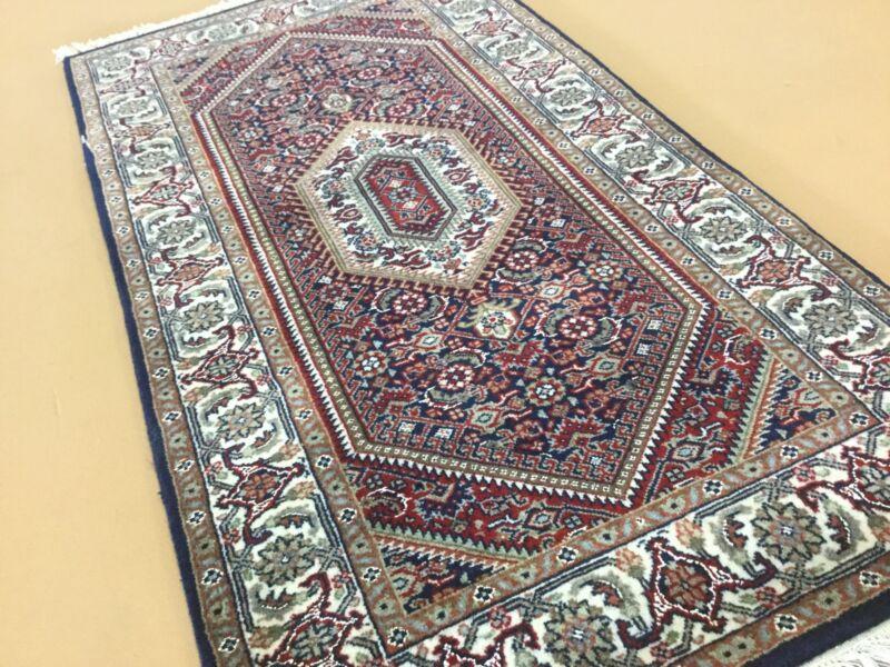 2 X 4 Navy Blue Red Wool & Silk Super Bijar Persian Oriental Rug Hand Knotted