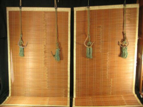 "ANTIQUE JAPANESE TAISHO ERA SUDARE SET BAMBOO WINDOW SHADE BLIND SILK  26""x66"" ~"