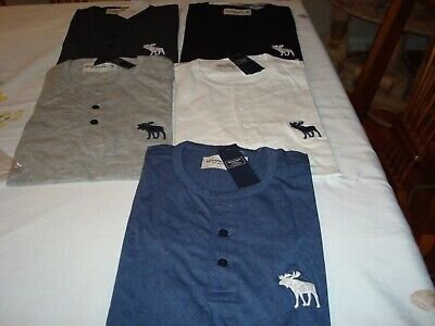 Men Abercrombie&Fitch Short Sleeve Embroidered Logo At Left Chest Henley Shirts
