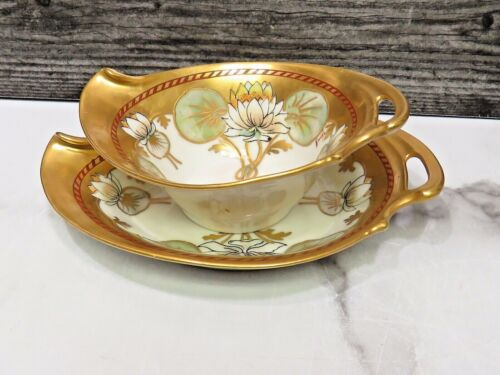Antique W.A. Pickard Lilypad Art Nouveau Mayonnaise with Underplate Gravy Gold