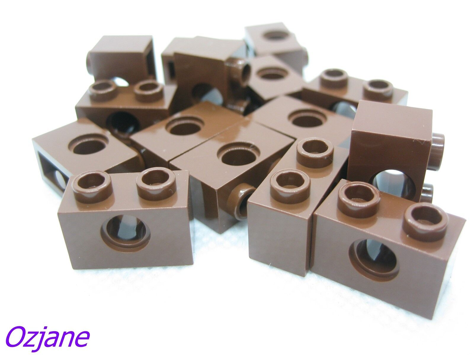 LEGO Parts~Technic, 10 Brick 1 x 2 with Hole 3700 REDDISH BROWN