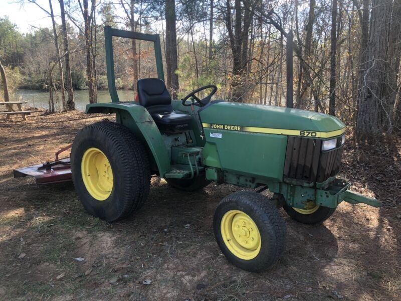 John Deere 870 Diesel Farm Tractor w/ Free Mower PTO Attachment