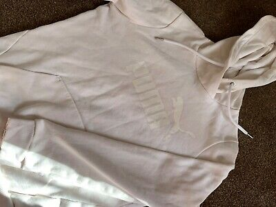 PUMA Womens Hoodie Jumper UK 10 Small White Cotton