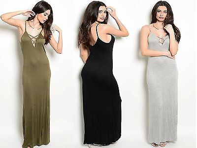 Sexy Maxi Dress Plunging Caged Neckline Criss Cross Lace Up Trendy  Clubwear