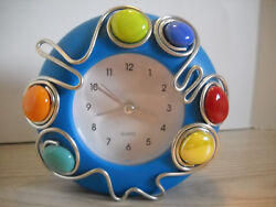VINTAGE BLUE QUARTZ TABLE TOP ALARM CLOCK SILVER TONE WITH DECORATIVE DISCS