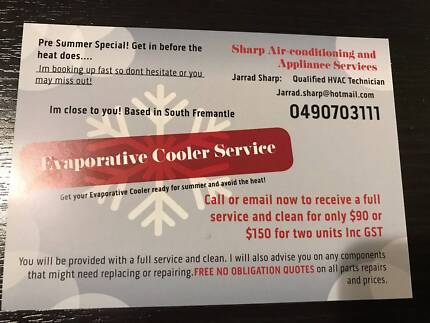 Evaporative Cooler Service and Clean.. SUMMER SPECIAL $90 INC GST
