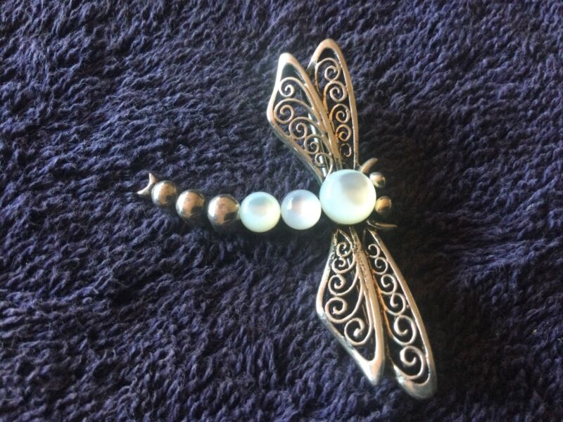 Sterling Silver & Mother of Pearl Dragonfly Brooch / Pin