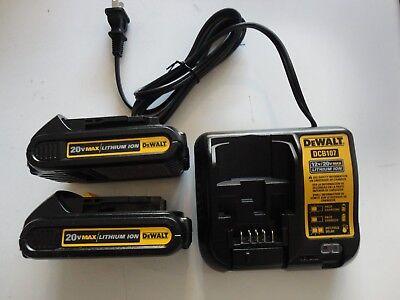 DEWALT DCB207-2 20V 20 Volt Li-Ion Battery packs x2 DCB107 Charger New 2019