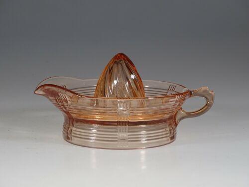 Vintage Hazel-Atlas Glass Pink Criss Cross Orange Reamer Minty c.1935