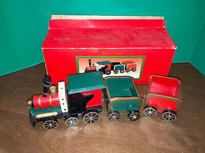 3 pc Large wood train set #96720 Vintage Christmas train in orig box